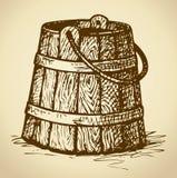 Old wooden bucket. Vector sketch stock illustration