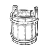 Old wooden bucket. Woodcut of an old wooden bucket. Engraving vector illustration isolated on white vector illustration