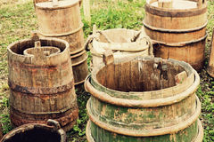 Old wooden buckets and barrels. Royalty Free Stock Photos