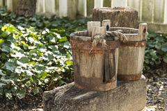 Old Wooden Buckets Stock Images