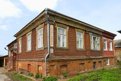 Old wooden building apartments Royalty Free Stock Image