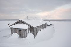 Old wooden building, coal mine, Spitsbergen Stock Photo