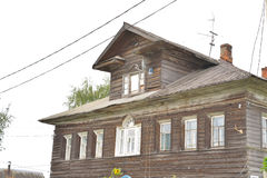 Old wooden building in Village Priluki on the outskirts of Vologda. Royalty Free Stock Image