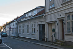 Old wooden buildings in Halden. In Halden, there are many old houses, most of the houses are from after 1826 when a major fire put almost the entire city Stock Photography