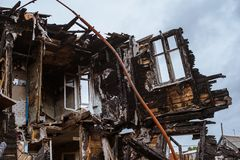 The old wooden burned-down house a view from inside royalty free stock photo