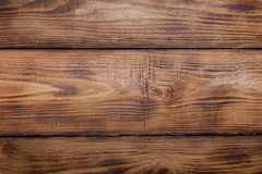 Old wooden burned table or board for background. Space for text Royalty Free Stock Photography