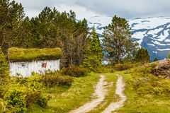 Old wooden cabin in forest Norway Stock Images