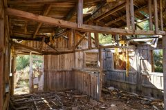 Old wooden cabin house destroyed by hurricane. And abandoned Royalty Free Stock Photography