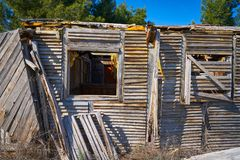 Old wooden cabin house destroyed by hurricane. And abandoned Stock Image