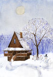 Old wooden cabin in the mountains under Northern Lights watercolor Royalty Free Stock Images