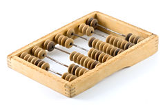Old wooden calculator Stock Photo