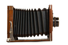 Old wooden camera Stock Images