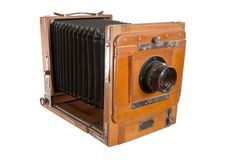 Old Wooden Camera Stock Photography