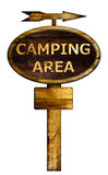 Old wooden camping area sign. Royalty Free Stock Photography
