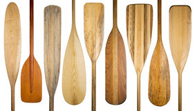 Old wooden canoe paddles Stock Photo