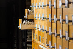 Old wooden card catalog in the archive library Royalty Free Stock Images