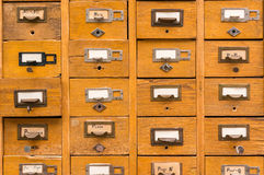 Old wooden card catalog Royalty Free Stock Photos
