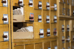 Old wooden card catalog Royalty Free Stock Photo