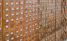 Old wooden card catalogue royalty free stock photos