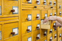 Old wooden card catalogue in library. Stock Images