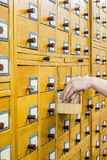 Old wooden card catalogue in library Stock Images