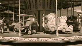 Old wooden carousel stock video footage