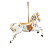 Old wooden carousel horse. Isolated on white background Stock Images