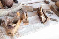 Old wooden carpentry planers Stock Photography