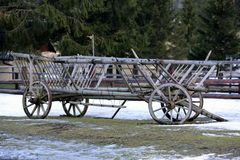 Old wooden carriage Royalty Free Stock Images