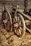 Old wooden carriage wheel stock image
