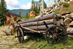 Old wooden cart Stock Images