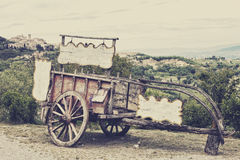 Old wooden cart against vineyards Royalty Free Stock Photography