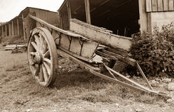 Old Wooden Cart Aged. An old wooden cart left in a field to rot Royalty Free Stock Photography