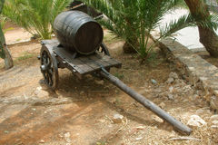 Old wooden cart and barrel Royalty Free Stock Images