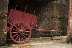 Old wooden cart at farm Stock Photos