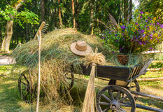 Old wooden cart with flowers. Old rural cart with dry grass and wildflowers Royalty Free Stock Photography