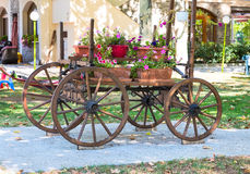 Old wooden cart with pink petunia colorful flowers Royalty Free Stock Image