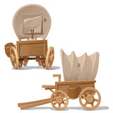 Old wooden cart with shot through canopy Stock Photos