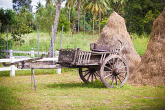 Old wooden cart Thai style Royalty Free Stock Photos