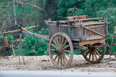Old wooden cart Thai style Royalty Free Stock Image
