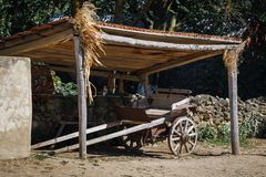 An old wooden cart, the times of the Taman Cossacks. Russia, Krasnodar Territory royalty free stock photography