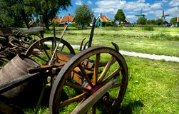 Old wooden cart in village Royalty Free Stock Image