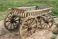 Old wooden cart or wagon stock photo