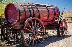 Old wooden cart with water tank Royalty Free Stock Images