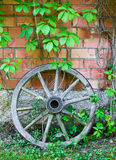 Old wooden cart wheel against wall Royalty Free Stock Photos