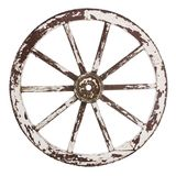 Old cart wheel. Old wooden cart wheel with white paint over a white background stock images