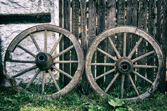 Old Wooden Cart Wheels Royalty Free Stock Photos