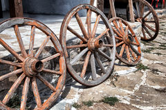 Old Wooden Cart Wheels Royalty Free Stock Photography