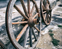 Old Wooden Cart Wheels Stock Photo