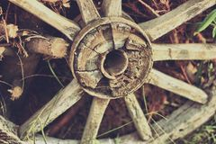 Old wooden cartheel. Close up Royalty Free Stock Images